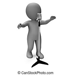Singer Character Shows Singing Or Talent Microphone Concert