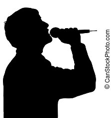 Singer - Silhouette of a person singing with a microphone