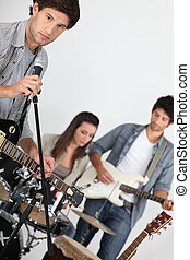 Singer in a band