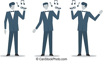 Singer in suit - Show man singing song, singer with...