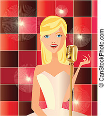 singer - is a ilustracion of a woman singing,available as a...