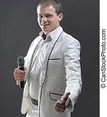 singer., isolé, arrière-plan noir, mâle, beau