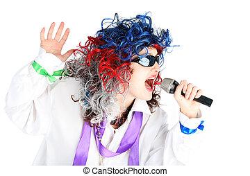 singer isolated on white