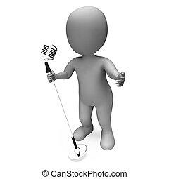 Singer Mic Shows Music Song Or Karaoke Microphone Concert