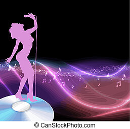 female singer standing on a cd with musical notes and abstract pattern
