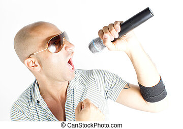 singer on a white background