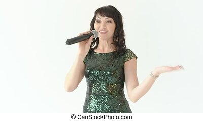 Singer on stage with microphone - Beautiful woman singer in...