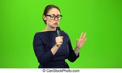 Singer performs a song. Green screen - Singer in a night...