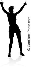 Singer Pop Country or Rock Star Silhouette Woman