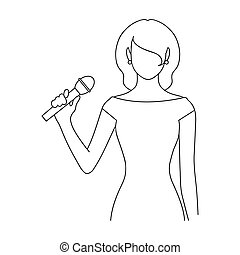 Singer. Professions single icon in outline style raster, bitmap symbol stock illustration web.