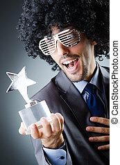 Singer receiving star prize award