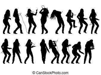 Singer rock women - Beautiful women whit microphon on white...