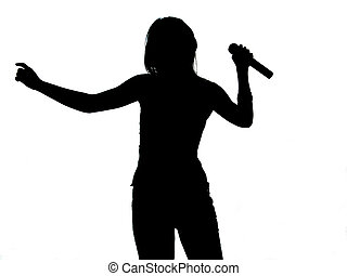 Singer Silhouette - Girl Singing - Silhouette (Perfect For...