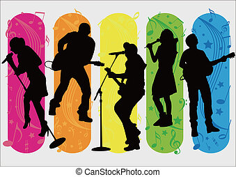 Singer Silhouette - five Singers  Silhouette and music items