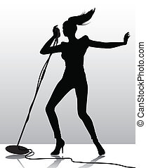 singer silhouette - silhouette of a female singer with the...