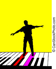 Singer Silhouette - Silhouette of a person singing against a...