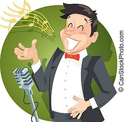 Singer sing with microphone. Eps10 vector illustration....