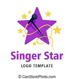 Singer star purple and yellow logo