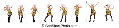 Singer with microphone isolated on white