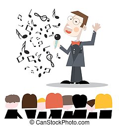 Singer with Notes and Audience Vector Illustration