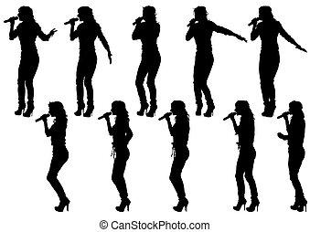 Singer women on white