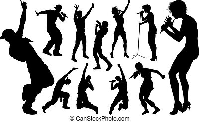 Singers Pop Country Rock Hiphop Star Silhouettes - A set of...