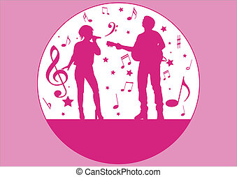 singers silhouette and music items