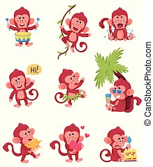 singes, chartoon, différent, illustration, vecteur, actions, rouges, neuf, ensemble, caracter, expressions, rigolote
