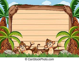 singes, gabarit, bois, heureux, signe, deux, parc