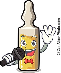 Singing ampoule mascot cartoon style vector illustration