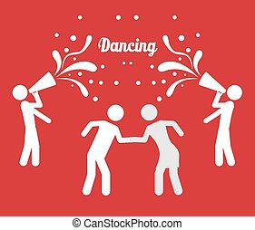 Singing and dancing icons, vector illustration