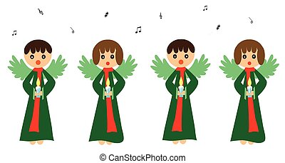 Singing angels and bright star in night sky illustration
