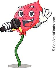 Singing anthurium flower pink in cartoon garden