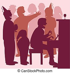 Singing around the piano - A group of people in silhouette...