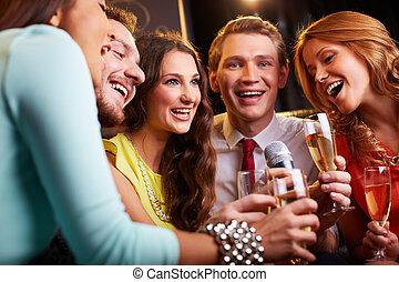 Singing at party