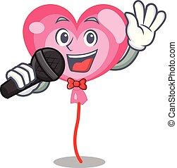 Singing ballon heart mascot cartoon