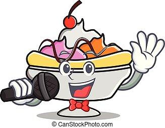Singing banana split mascot cartoon vector illustration
