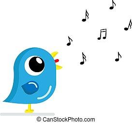 singing bird flat vector