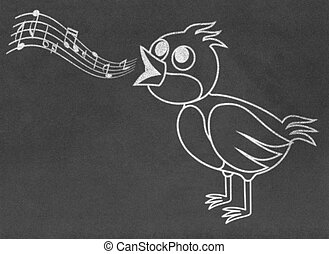 Singing bird on chalkboard