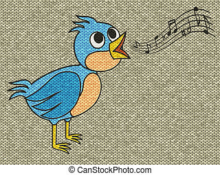 Singing bird relief painting on generated knit texture...