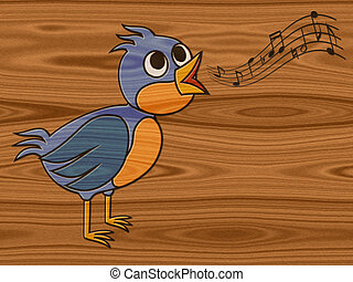 Singing bird relief painting on generated wood texture...