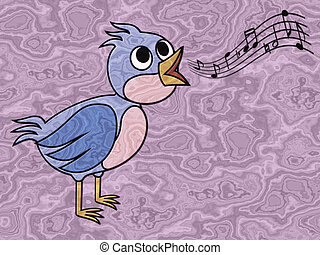 Singing bird relief painting on generated marble texture...