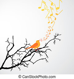 Singing Bird - vector illustration of a branch with a...
