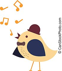 Singing bird with hat and polka dot bow tie