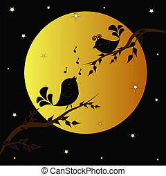 Singing birdies on branches under the moon in the night from stars