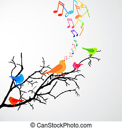 vector illustration of a branch with colorful birds and notes