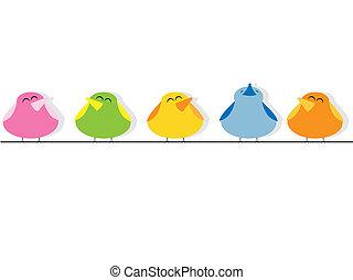 Singing birds - Vector picture of singing birds
