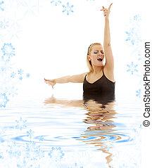 singing blonde in water
