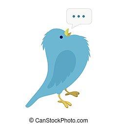 Singing blue bird illustration