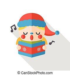 singing boy flat icon